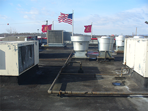 Before picture of a commercial rooftop