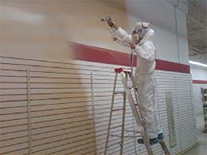 A Capital Coating employee applies paint on a commercial facility's wall