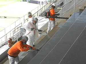 Stairs being given a protective coating
