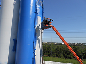 Commercial painting towers blue