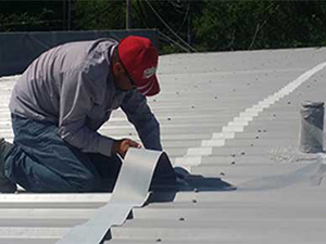 Material added to a metal commercial roof during a repair