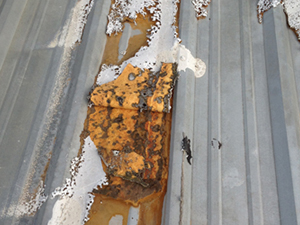 Rust damage on a metal roof