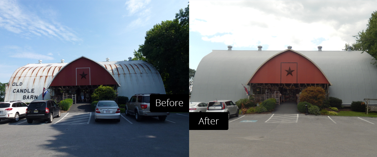 Before and after comparison of a metal roof coating project at the Old Candle Barn