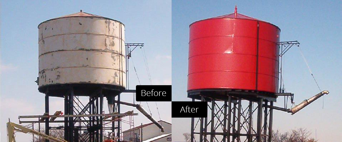 Before and after comparison of a commercial paint project