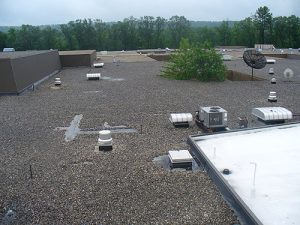 Industrial rooftop before a coating job